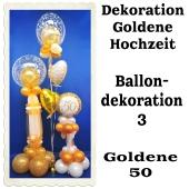 Ballondekoration Goldene Hochzeit 3, 50. Jubiläum, Goldene 50