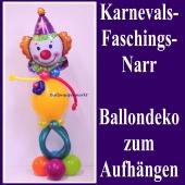 Ballondekoration zu Karneval und Fasching, Narr aus Luftballons