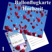 Ballonflugkarte Hochzeit - Herzluftballons Folie - 1 Stück