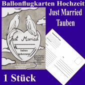Ballonflugkarte Hochzeit Just Married, Hochzeitstauben, Postkarte zum Abhängen an Luftballons, 1 Stück