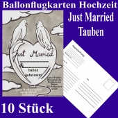 Ballonflugkarten Hochzeit Just Married, Hochzeitstauben, Postkarten zum Abhängen an Luftballons, 10 Stück