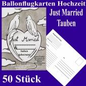 Ballonflugkarten Hochzeit Just Married, Hochzeitstauben, Postkarten zum Abhängen an Luftballons, 50 Stück