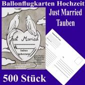 Ballonflugkarten Hochzeit Just Married, Hochzeitstauben, Postkarten zum Abhängen an Luftballons, 500 Stück