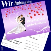 Ballonflugkarte Hochzeit - Wir haben geheiratet! Herzluftballons - 1 Stück