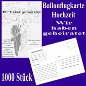 Ballonflugkarten Hochzeit, Wir haben geheiratet, Postkarten zum Abhängen an Luftballons, 1000 Stück
