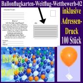 Ballonflugkarte für den Ballonflug-Wettbewerb mit Adressendruck