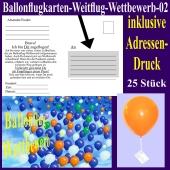 Ballonflugkarte für den Ballonflug-Wettbewerb mit Adressendruck, 25 Stück