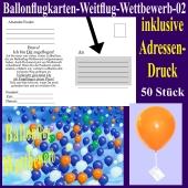 Ballonflugkarte für den Ballonflug-Wettbewerb mit Adressendruck, 50 Stück
