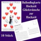 Ballonflugkarten Hochzeit, Glückwünsche zur Hochzeit, Luftballons mit Karten zur Hochzeit steigen lassen, 10 Karten