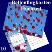Ballonflugkarte Hochzeit - Herzluftballons Folie - 10 Stück