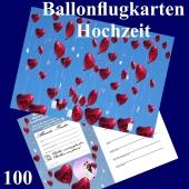 Ballonflugkarte Hochzeit - Herzluftballons Folie - 100 Stück