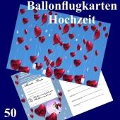 Ballonflugkarte Hochzeit - Herzluftballons Folie - 50 Stück