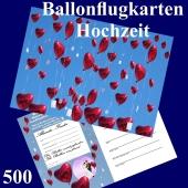 Ballonflugkarte Hochzeit - Herzluftballons Folie - 500 Stück