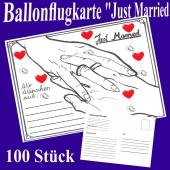 Ballonflugkarten Hochzeit Just Married, Postkarten zum Abhängen an Luftballons, 100 Stück