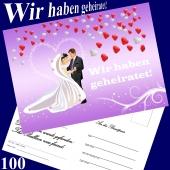 Ballonflugkarten Hochzeit - Wir haben geheiratet! Herzluftballons - 100 Stück