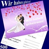 Ballonflugkarten Hochzeit - Wir haben geheiratet! Herzluftballons - 500 Stück