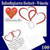 Ballonflugkarten Hochzeit Wünsche für das Brautpaar, Postkarten, Luftballons steigen lassen, 100-Stück