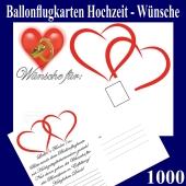 Ballonflugkarten Hochzeit Wünsche für das Brautpaar, Postkarten, Luftballons steigen lassen, 1000-Stück