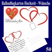 Ballonflugkarten Hochzeit Wünsche für das Brautpaar, Postkarten, Luftballons steigen lassen, 50-Stück