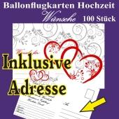 Ballonflugkarten Hochzeit - Wünsche für das Hochzeitspaar - 100 Stück - Inklusive Druck der Adresse