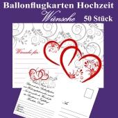 Ballonflugkarten Hochzeit - Wünsche für das Hochzeitspaar - 50 Stück
