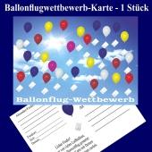 Ballonflugwettbewerbkarte, Postkarte für Luftballons, Ballonweitflug, Ballonmassenstartkarte