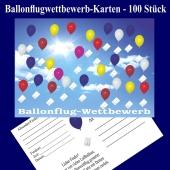Ballonflugwettbewerbkarten, Postkarten für Luftballons, Ballonweitflug, Ballonmassenstartkarten, 100 Stück