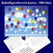 Ballonflugwettbewerbkarten, Postkarten für Luftballons, Ballonweitflug, Ballonmassenstartkarten, 1000 Stück