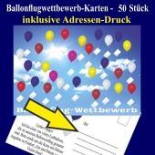 Ballonflugkarten, Postkarten für Luftballons zum Ballonweitflug-Wettbewerb, inklusive Adressen-Druck, 50 Stück