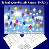 Ballonflugwettbewerbkarten, Postkarten für Luftballons, Ballonweitflug, Ballonmassenstartkarten, 50 Stück