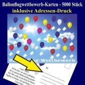 Ballonflugkarten, Postkarten für Luftballons zum Ballonweitflug-Wettbewerb, inklusive Adressen-Druck, 5000 Stück