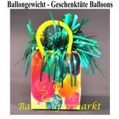 Ballongewicht, Geschenktüte mit bunten Luftballons, Halter gür Luftballons mit Helium und Ballongas
