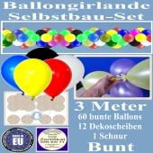 Girlande aus bunten Luftballons, Ballongirlande Selbstbau-Set, 3 Meter