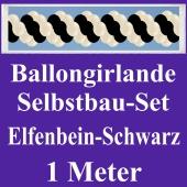 Girlande aus Luftballons, Ballongirlande Selbstbau-Set, Elfenbein-Schwarz, 1 Meter