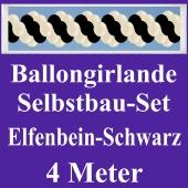 Girlande aus Luftballons, Ballongirlande Selbstbau-Set, Elfenbein-Schwarz, 4 Meter