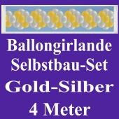 Girlande aus Luftballons, Ballongirlande Selbstbau-Set, Gold-Silber, 4 Meter