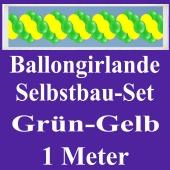 Girlande aus Luftballons, Ballongirlande Selbstbau-Set, Grün-Gelb, 1 Meter