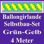 Girlande aus Luftballons, Ballongirlande Selbstbau-Set, Grün-Gelb, 4 Meter