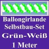 Girlande aus Luftballons, Ballongirlande Selbstbau-Set, Grün-Weiß, 1 Meter