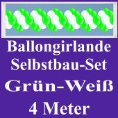 Girlande aus Luftballons, Ballongirlande Selbstbau-Set, Grün-Weiß, 4 Meter