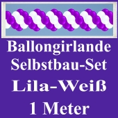 Girlande aus Luftballons, Ballongirlande Selbstbau-Set, Lila-Weiß, 1 Meter
