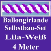 Girlande aus Luftballons, Ballongirlande Selbstbau-Set, Lila-Weiß, 4 Meter