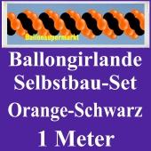 Girlande aus Luftballons, Ballongirlande Selbstbau-Set, Orange-Schwarz, 1 Meter