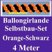 Girlande aus Luftballons, Ballongirlande Selbstbau-Set, Orange-Schwarz, 4 Meter