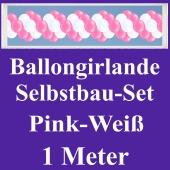 Girlande aus Luftballons, Ballongirlande Selbstbau-Set, Pink-Weiß, 1 Meter