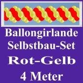 Girlande aus Luftballons, Ballongirlande Selbstbau-Set, Rot-Gelb, 4 Meter