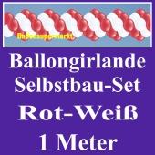 Girlande aus Luftballons, Ballongirlande Selbstbau-Set, Rot-Weiß, 1 Meter