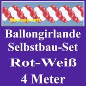 Girlande aus Luftballons, Ballongirlande Selbstbau-Set, Rot-Weiß, 4 Meter