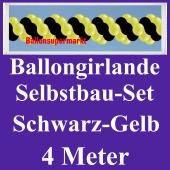 Girlande aus Luftballons, Ballongirlande Selbstbau-Set, Schwarz-Gelb, 4 Meter