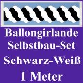 Girlande aus Luftballons, Ballongirlande Selbstbau-Set, Schwarz-Weiß, 1 Meter